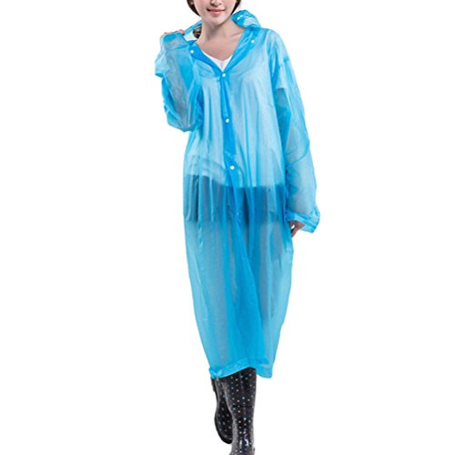 Zhhlinyuan Adult Portable Multicolor Translucent Hooded Raincoat - One Size blue