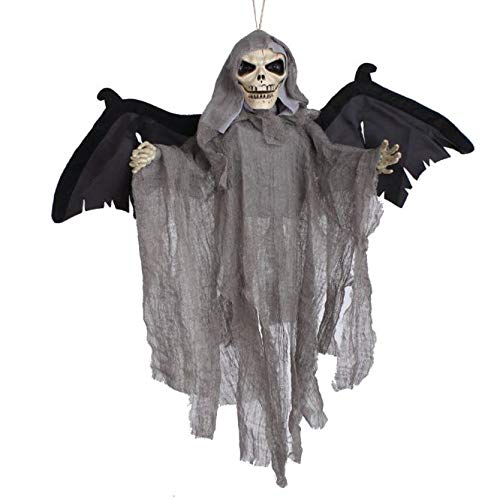 Eliasan Tragbare Halloween Hängen Dekor Sound Control Scary Skeleton Ghost Haunted Decor für Haus Bar Hausgarten Party Indoor Urlaub 22 × 21,3 - Fledermaus Kostüm Grau Flügel