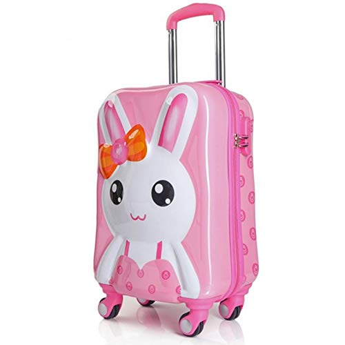 Qp-lgx Cartoon Koffer 3D Stereo Hase niedlichen Kinder Trolley (Farbe : Rosa, größe : 19in)