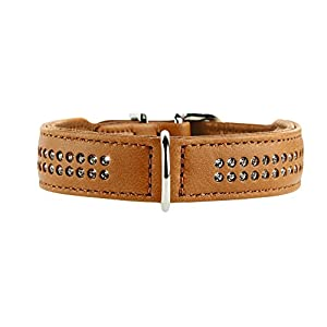 Hunter Diamond Petit Nickel Elk Leather Collar, XX-Small, Cognac
