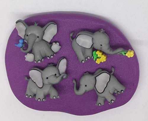 Molde de silicona con diseño de elefantes