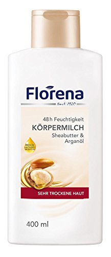 Florena Körpermilch mit Sheabutter & Arganöl, vegan, Body Lotion, 1er Pack (1 x 400 ml)