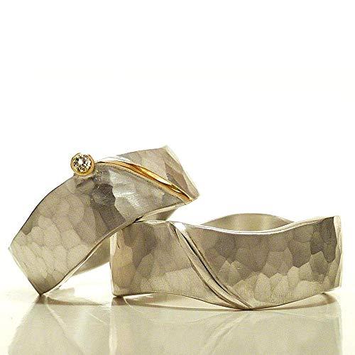 Eheringe aus Sterlingsilber geschmiedet, Gold und Brillant, Freundschaftsringe, Partnerringe, Trauringe, Hochzeitsringe - handgefertigt SILVERLOUNGE