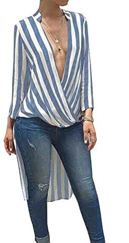 SunIfSnow - Haut de pyjama spécial grossesse - Asymétrique - À Rayures - Manches Longues - Femme - bleu - S