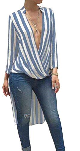 SunIfSnow Damen Asymmetrischer Schlafanzugoberteil, Gestreift Gr. Medium, hellblau (Scoop Strapless)