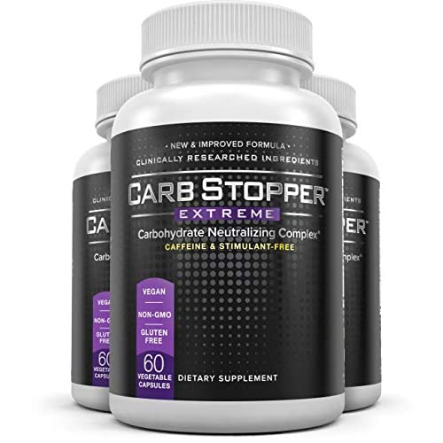 CARB STOPPER EXTREME (3 Bottles) – Maximum Strength Carbohydrate & Starch Blocker Weight Loss...