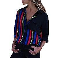 Hanomes Damen pullover, Frauen Casual Gestreifte Cuffed Langarm V-Ausschnitt Button-Up Farbe Block Bluse Tops preisvergleich bei billige-tabletten.eu