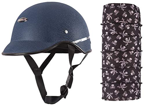 Habsolite All Purpose Safety Helmet with Strap (Blue, Free Size) and Autofy Pirate Skull Print Lycra Headwrap Bandana for Bikes (Black and White, Free Size) Bundle
