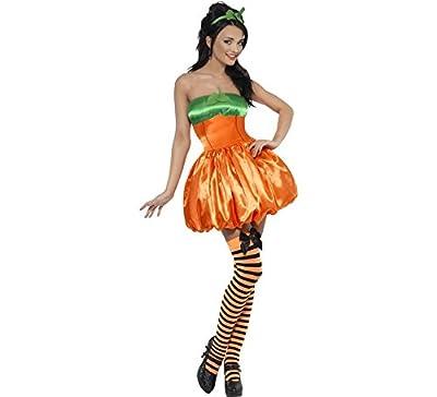 Smiffys Déguisement Femme Citrouille, Robe et Serre-tête, Halloween, Fever, Couleur: Orange, 30890