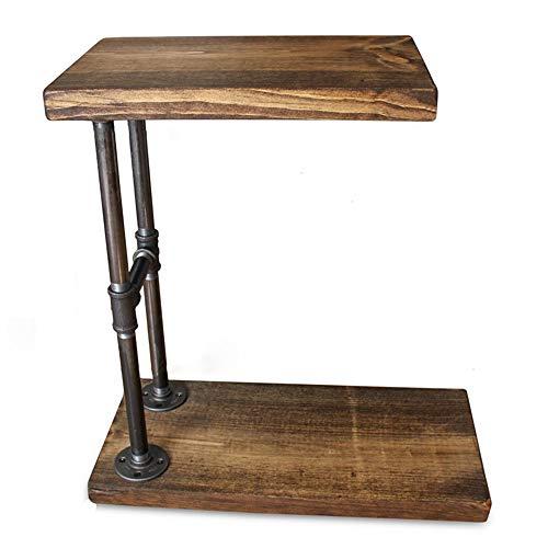 HANSHAN Tavolino Tavolino del Divano, Tavolino da Salotto Creativo Industriale A Forma di C con Mobili retrò per Soggiorno Camera da Letto in Legno di Pino 18 × 12 × 30 Pollici Supporto per Tablet