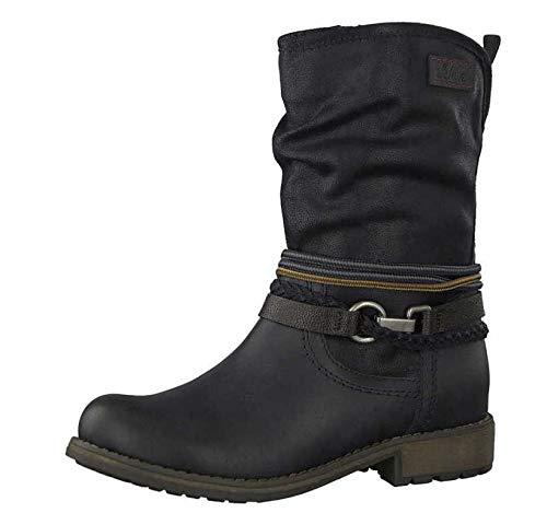 s.Oliver Damen Biker Boots 25445-21,Frauen Stiefel,Stiefelette,Halbstiefel,Bikerstiefelette,Bootie,Nieten,SoftFoamsO Decksohle,Blockabsatz 2.5cm,Navy Comb,EU 40