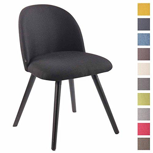 Clp sedia da pranzo nelson in tessuto – sedia design soggiorno imbottita e dotata di schienale i poltroncina salotto con telaio in legno di faggio i sedia da tavolo design nordico nero nero