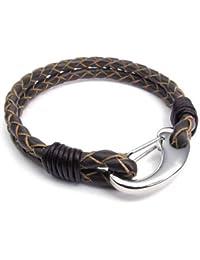 KONOV Bijoux Bracelet Homme - Tressé - Cuir - Acier Inoxydable - Fantaisie - pour Homme et Femme - Chaîne de Main - Couleur Marron Or Argent
