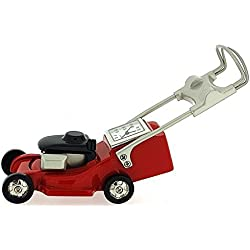 Miniature Lawn Mower Novelty Red Black & Silver Ornamental Collectors Clock 0126