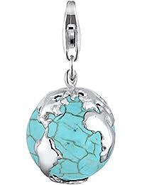 Elli Damen-Charm Globus 925 Sterling Silber Türkis blau Perlenschliff 406272612