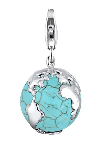 Elli Damen Charm Anhänger Weltkugel Globus synthetischer Howlith Türkis Sterling Silber 925