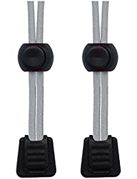 Paquetes de cordones de zapatos elásticos, con bloqueo, para correr y triatlón, gris, XL