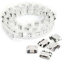 Conector hembra de USB micro - TOOGOO(R)50 piezas de conector de adaptador de enchufe hembra de 5 pines de Micro USB tipo B de PCB SMT