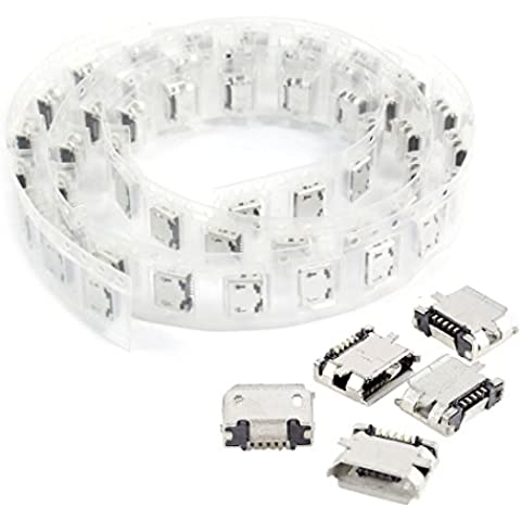 Conector hembra de USB micro - SODIAL(R)50 piezas de conector de adaptador de enchufe hembra de 5 pines de Micro USB tipo B de PCB