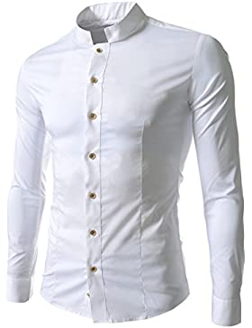 DaBag Camicia Autunno Nuovo Collo Manica Lunga Vintage T-shirt Top coat Tinta unita Slim Moda Personalità Camicia...