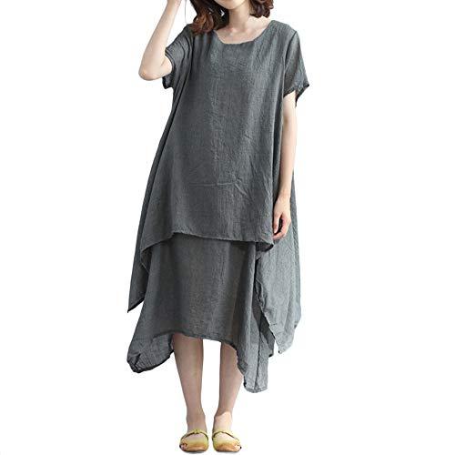 iLPM5 Frau 2019 Mode Kurze ÄRmel BettwäSche Aus Baumwolle Midi-Kleid O Neck UnregelmäßIges FließEn Geschichtet Damen Freizeitkleid(grau,2XL) -