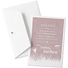 Romantische Hochzeitskarte Glückwunschkarte Valentinskarte - Heiraten und dann - ROSA ( Altrosa) auf hochwertigem Büttenpapier mit Umschlag.