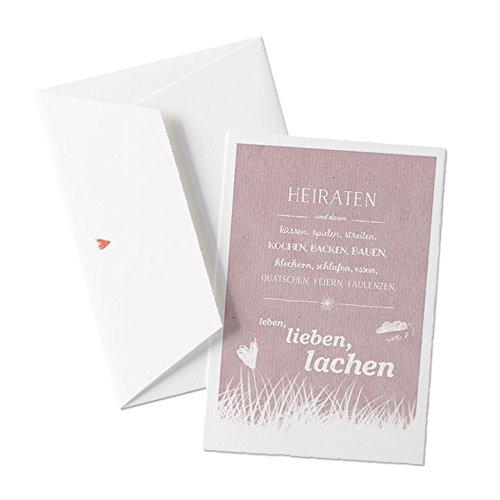 50x Hochzeitseinladungen-Set inkl. Druckservice - HEIRATEN, und dann... - ROSA (Altrosa) mit individueller Rückseite Hochzeitseinladung Einladungskarten-Set Büttenpapier bedruckt