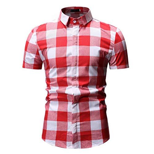 M-3XL Kurzarmhemd Männer Hemden Hemd oberhemden freizeithemd herrenhemd Kurzarm Herren karohemd knöpfe Stehkragen Kragen Fit Slim Shirt T-Shirt CICIYONER