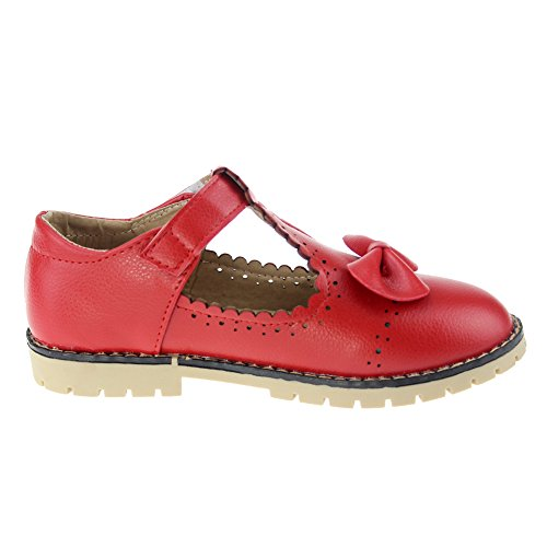 maxu fille de Parti Chaussures Mary Jane Nœud Ballet Flats red