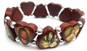 Christian Wood Religious Icon Saint Heart Bracelet