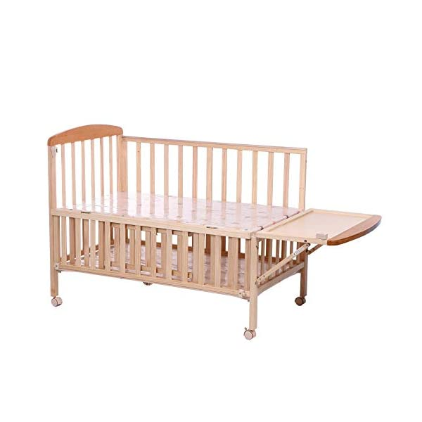 QINYUN Crib Solid Wood Without Paint Multi-functional Baby Bed Game Bed QINYUN 1. This portable crib is made of sturdy pine wood with a beautiful, non-toxic appearance, with a hard hat and locking wheel that can be converted from a crib to a baby fence with one hand. 2. Soft and encrypted mosquito net, strong and not decoupled, providing a comfortable sleeping environment for your baby The mattress attached to the cradle is gently shaken to sleep every night. 2