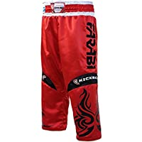 Farabi Kickboxing Pantalones de Boxeo Mixtos Artes Marciales de Contacto Completo Azul Rojo Negro Adulto y niños tamaños (Rojo, Mediano)