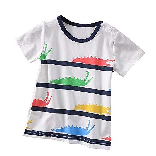 JUTOO Kleinkind Kinder Baby Jungen mädchen Sommer Kleidung Kurzarm spaß Cartoon Tops t-Shirt Bluse (Weiß,110)