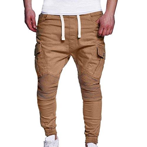 fef669e9b28e MOIKA Herren Hose Cargo Jogging Pants, Mode Herren Chino Cargo Hose Tight  Beam Fuß Kordelzug Sport Slacks Casual Elastische Taschen Hosen