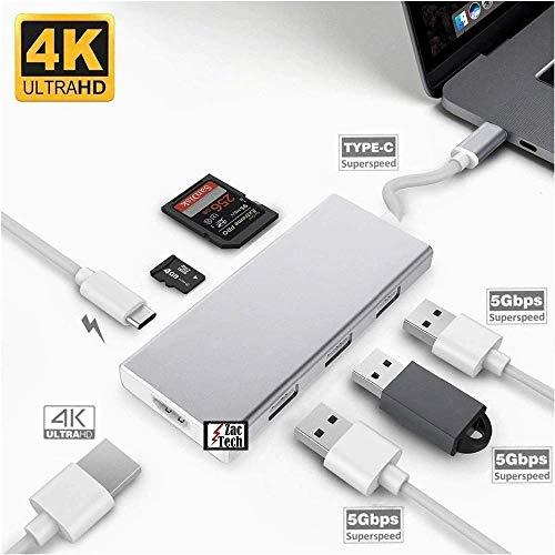 Zac Tech USB 3.1 Hub HDMI Network Ethernet Rj45 1000Mbps PD SD TF MicroSD Memory Card Reader Slot Support 4K*2K Charging Alt DP Dex for Type C USB-C Galaxy S8 S9 Note 8 Note 9 P20 Pro Mate 10 U11 (Cast Hub)