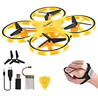 Drone for Kids, 2.4G Gravity Sensor RC Nano Quadcopter with Infrared Obstacle Avoidance, Hand Control Helicopter, Throw to Fly,3D Flips & Cool Light, Boys Girls Gift Toys (Yellow)
