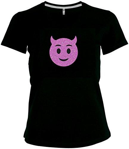 per funkelnder Glitzeraufdruck Smiley Emoticon T-Shirt Karneval Fasching Kostüm Teufel Schelm Kobold Necken, XXXXL (Moderne Teufel Kostüme)