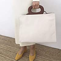 Huyizhi Outdoor Storage Female Canvas Tote Bag Commuting File Vacation  Shopping Beach Retro Oval Handbag ( 15cea22270