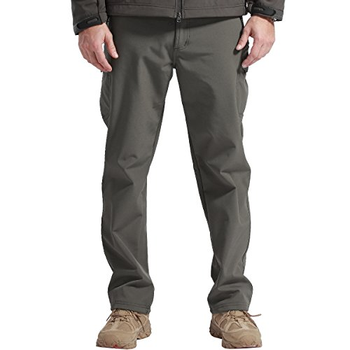 FREE SOLDIER Outdoor vollständig Herren Softshell Fleece gefüttert Walking Hose wasserdicht Winddicht Warm Winter Hose (Grau, 40