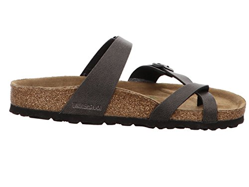 Birkenstock Mayari Damen Zehentrenner Vegan Birkoflor Pull Up Anthracite Pull Up Anthracite