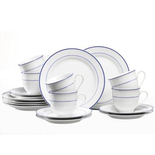 Ritzenhoff & Breker Basic Blue Snap Kaffeeservice 18-teilig, hochwertiges Porzellan,...