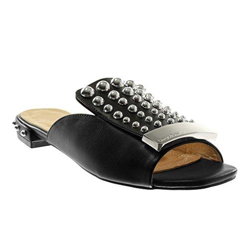 Chaussures Angkorly Fashion Sandales Mules Slip-on Femme Perle Cloutée Métallique Bloc Talon 2 Cm Noir