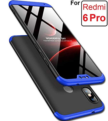 Amozo 3 In 1 Amozo 360 Degree Protection Hybrid Sleek Hard Back Case Cover For Redmi 6 Pro - Blue/Black