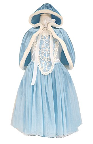 Fancy Dress Flower Childrens Kostüm - About Time Co Girl's Flower Princess Cape Fancy Dress 3-4 years (Blue)