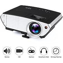Videoproyector, yipin Video Proyección LCD Multimedia 2000lúmenes 800* 480Resolución Proyector Home Cinema Soporte 1080P HD HDMI VGA AV USB SD TV portátil Xbox