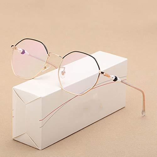 FANGUGF Flache Gläser Hexagon Brille Damen Volltonfarbe Transparente Linse Brille Optische Gläser