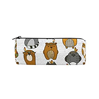 BONIPE Cartoon Owl Raccoon Pattern Pencil Case Pouch Bag School Stationery Pen Box Zipper Cosmetic Makeup Bag
