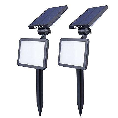 Solaire Exterieur - COOWOO 2x Projecteurs solaire 300 Lumens, lampe