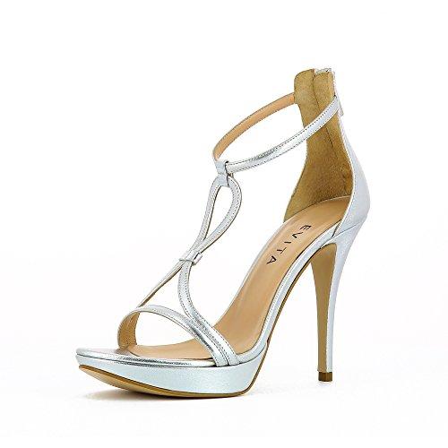 Evita Shoes Valeria Damen Sandalette Glattleder Silber