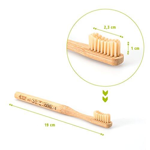 Nature Nerds – Bambus Zahnbürste im Set (4er Pack) ♻ Griff und Verpackung zu 100 % aus nachhaltig angebauten Bambus und zu 100% biologisch abbaubar, 100% Vegan, 100% BPA-frei /// Härtegrad: Mittel, nachhaltige Hand Zahnbürste //// Artwork Laserprint - 2